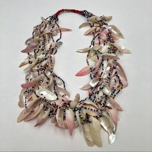 Fetish seashell beaded vintage necklace
